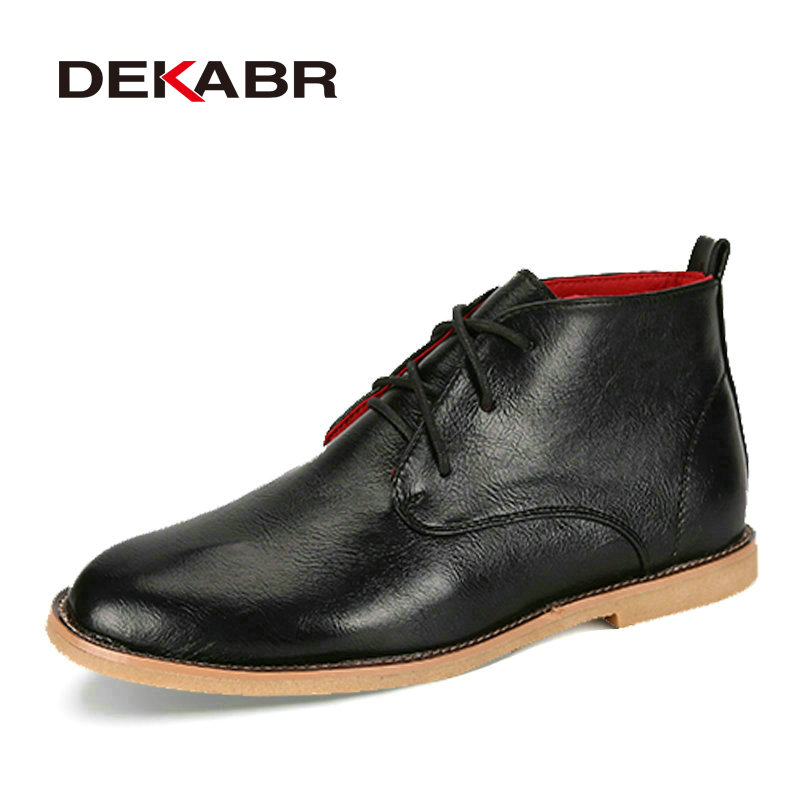 DEKABR Men Boots New 2019 Split Leather Ankle Boots Mens Fashion Shoes Anti Skid Waterproof Spring