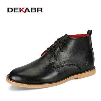 DEKABR Men Boots New 2019 Split Leather Ankle Boots Mens Fashion Shoes Anti-Skid Waterproof Spring Autumn High Quality Boots Men