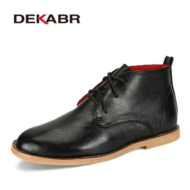 Botas Homens DEKABR Nova Divisão 2018 Ankle Boots de Couro Dos Homens Sapatos Da Moda Anti-Skid Primavera Outono de Alta Qualidade À Prova D' Água botas de Homens