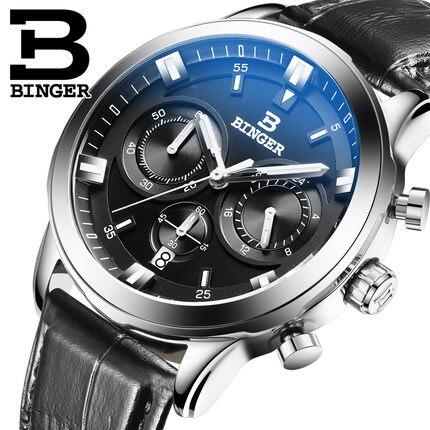 2017 New Luxury Switzerland Brand Binger Watch Waterproof Genuine Leather Quartz Fashion Watches Men Top Quality Wristwatch стайлер ga ma urban chev style p21 urb chev