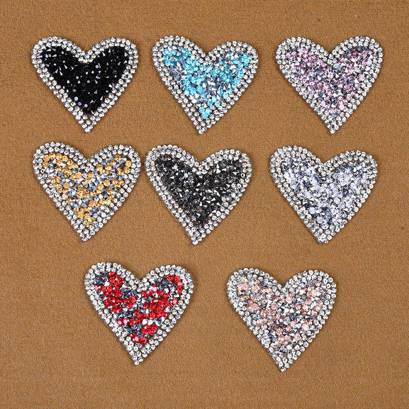 Cartoon Crystal Rhinestone Red Pink Love Heart Diamond Embroidered Sequin  Patches for Clothing Iron on Clothes 6ced764abe20