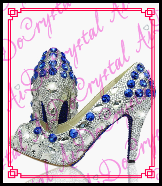 40ce96008 Aidocrystal hand made peep toe blue white crystal 10cm high heels summer shoes  ladies fancy sandal