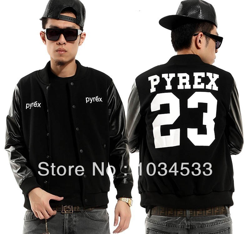 Hot UniSex Pyrex Vision 23 Champion Kanye West Coat Hip Hop Leather Jacket HBA Spring and Autumn Fashion Outewear