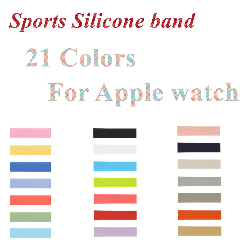 Wrist watchband Series 3 2 1 Silicone iwo 5 4 6 Strap Watch Bands for Apple Watch Sport Silicone loop Band for iwatch 38 42mm sport soft silicone iwo 5 6 7 strap series 3 2 1 for apple watch 42mm 38mm bracelet wrist band watch watchband for iwatch 3 2 1