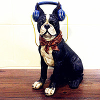 Simulation Bulldog Statue Animals Retro Boston Terrier Earphone Tarento Dogs Colophony Crafts Home Decorations Gift Toy L2637