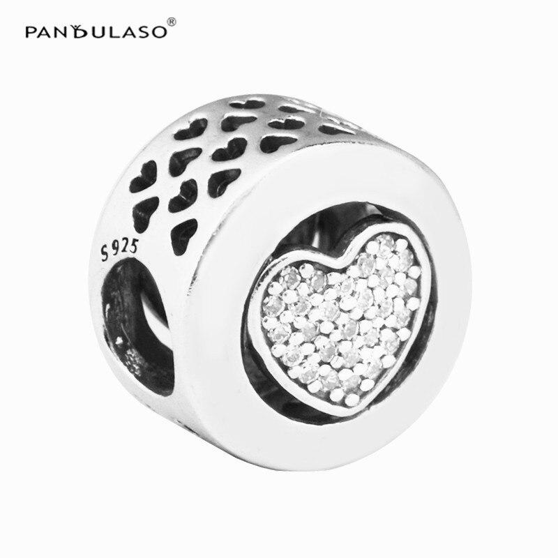 Pandulaso Open Heart CZ Bead Fit Silver Charm Bracelet Necklace 925 Silver Jewelry For Women Bracelet