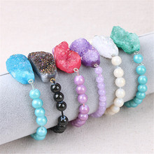 Bracelets Fashion Natural Druzy Stone Agates Crystal Beads Elastic Ropes Handmade Woman Bracelet Adjustable Party Jewelry