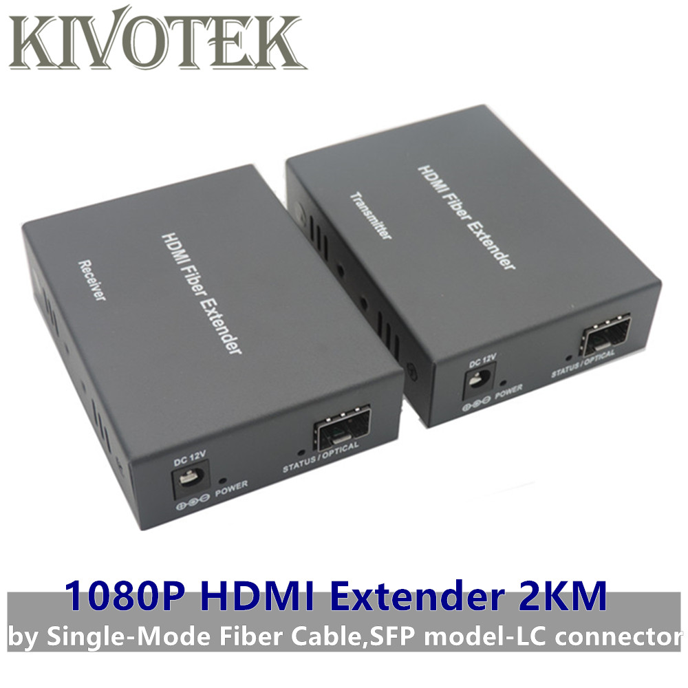 1080p HDMI Extender Transceiver Adapter Split Extension HD Video Sender/Receiver 2km by Fiber Cable,SFP Connector Free Shipping-in Computer Cables & Connectors from Computer & Office