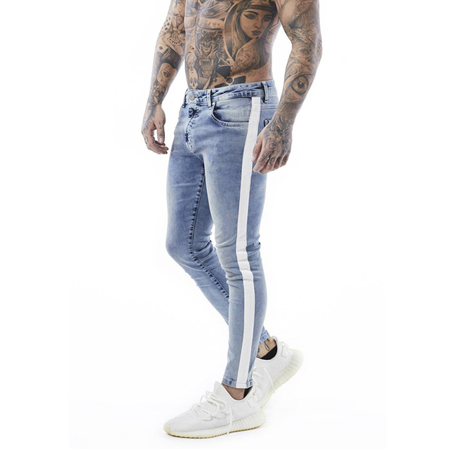 654004ac Gingtto Vintage Blue Tape Skinny Jeans For Men Faded Blue Stripe Tight Pant  From Waist To Hem Skinny Fit Big Size Cotton zm33