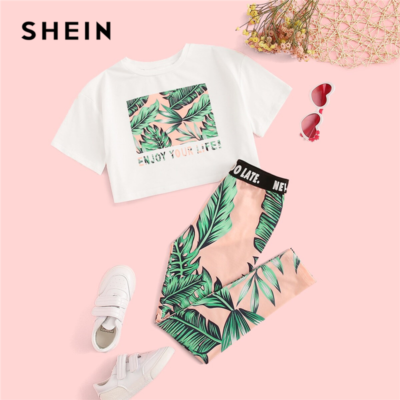 SHEIN Kiddie Girls Letter And Plants Print Tee With Leggings Boho Two Piece Sets 2019 Summer Short Sleeve Skinny Kids Outfits