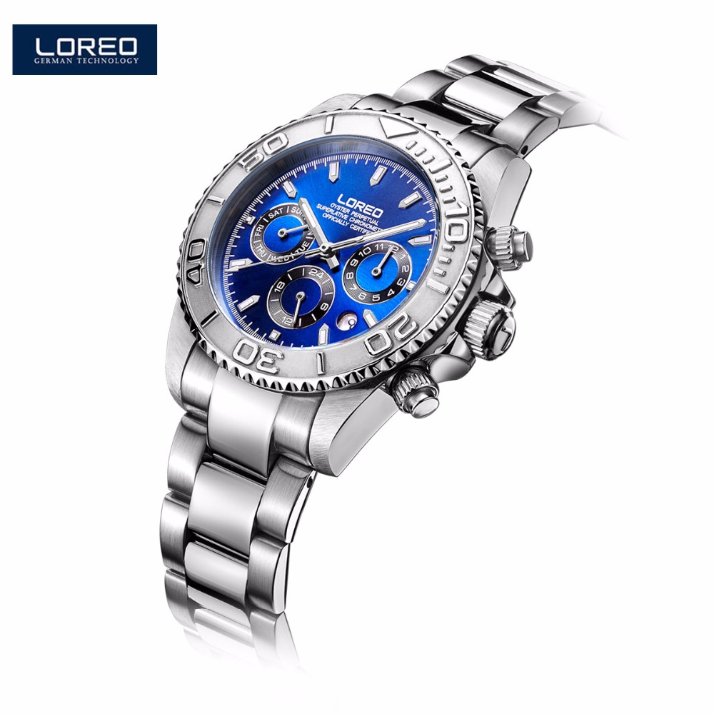 LOREO Men Watches Auto Date Watch Sports Stainless Steel Strongest Luminous Waterproof 200m Diver Mechanical Wristwatches AB2057 loreo s automatic fashion men s mechanical wrist watch waterproof stainless steel belt luminous chronograph diver watch ab2034