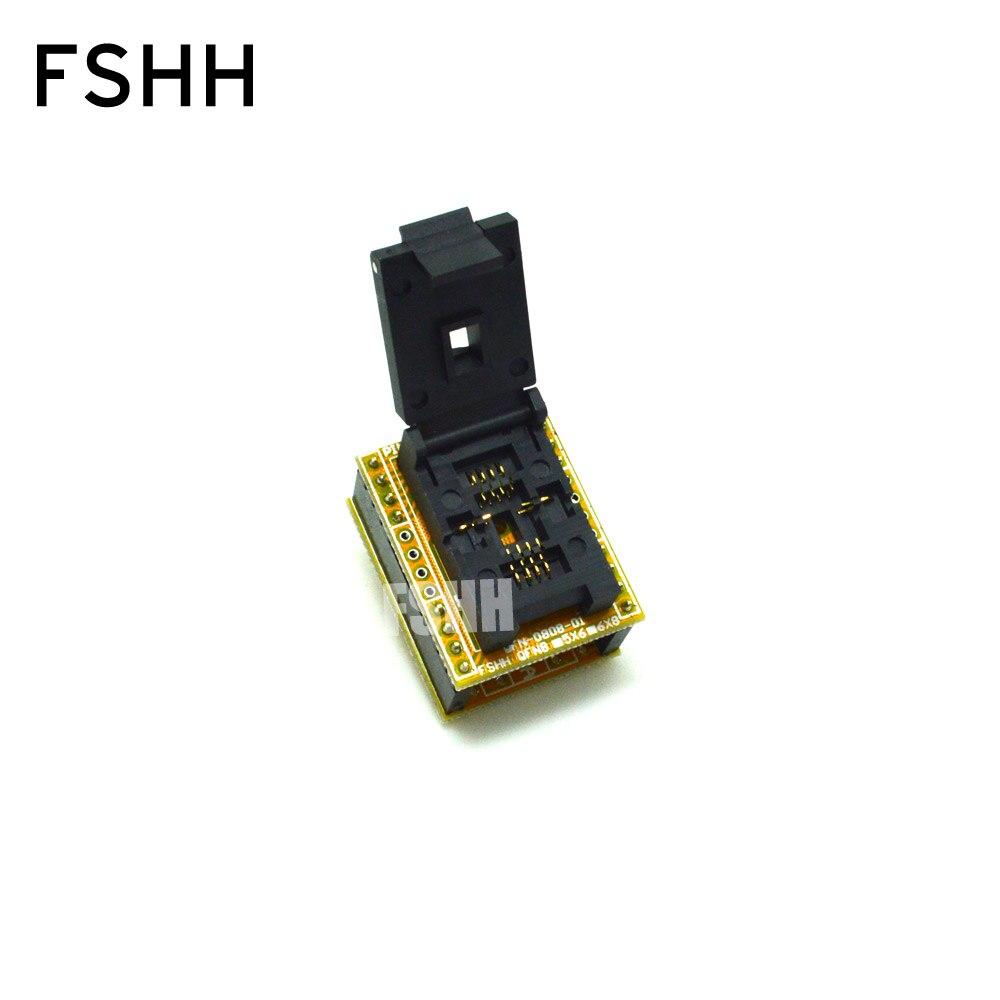 QFN8 à DIP8 programmeur adaptateur WSON8 DFN8 MLF8 à DIP8 prise pour 25xxx 6x8mm pas = 1.27mm