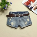 Free Belt 2017 New Women's Jeans Shorts Summer Sexy Ripped Hole Tassel Denim Shorts Low-waist Fashion Hot Shorts Femininos B599