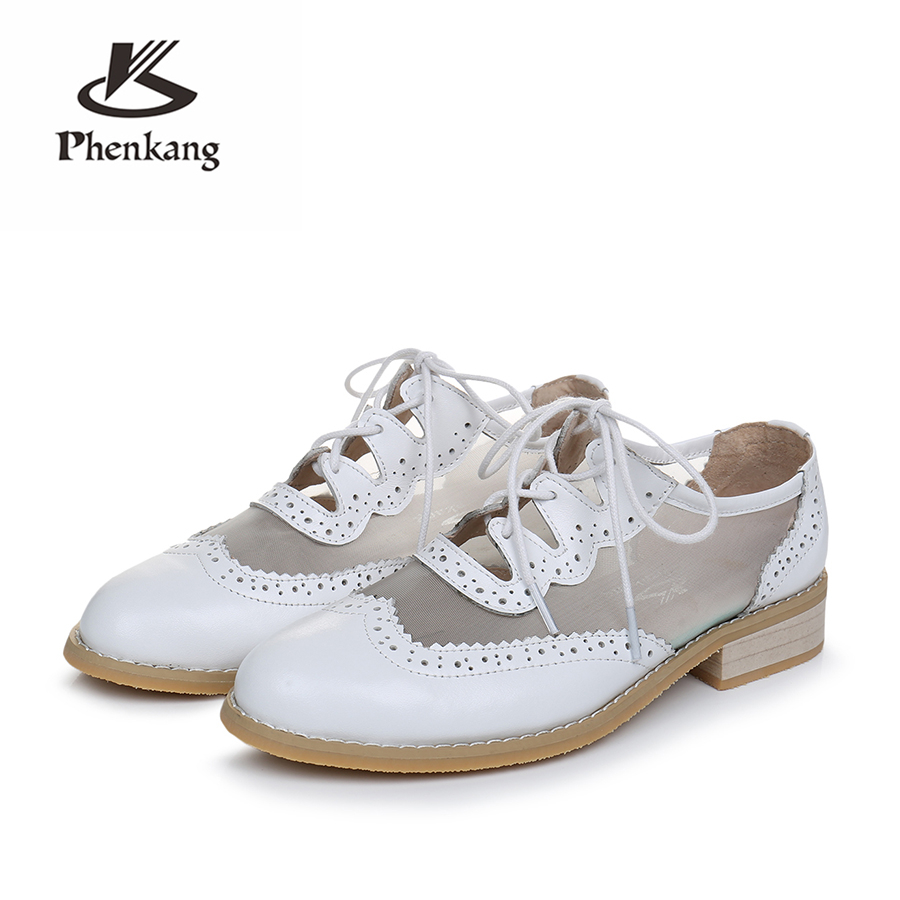Genuine cow leather brogues sneakers designer vintage flats shoes handmade oxford shoes for women 2018 summer big US size 10 ribetrini summer large size 34 40 cow genuine leather woman shoes mix color leisure flats women shoes sneakers