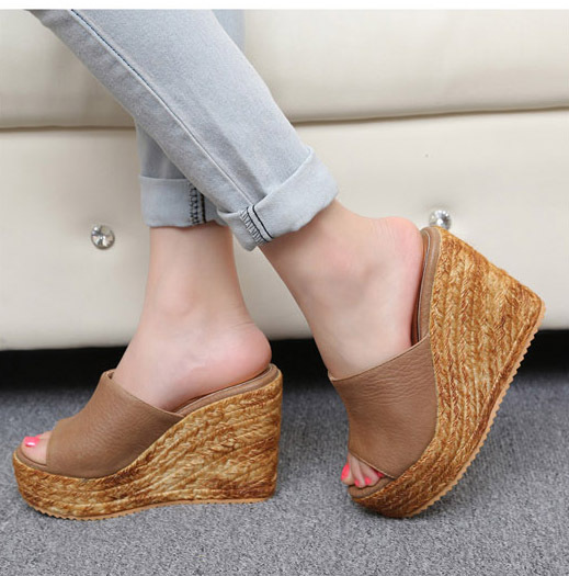 spring summer rope sole pumps women slipper brown PU solid ...