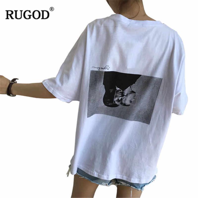 RUGOD 2019 ใหม่มาถึงผู้หญิงเสื้อยืดสีขาว O - Neck ครึ่งแขนหลวมสไตล์ตัวอักษรพิมพ์เสื้อยืดฤดูร้อน Modis Mujer Tops