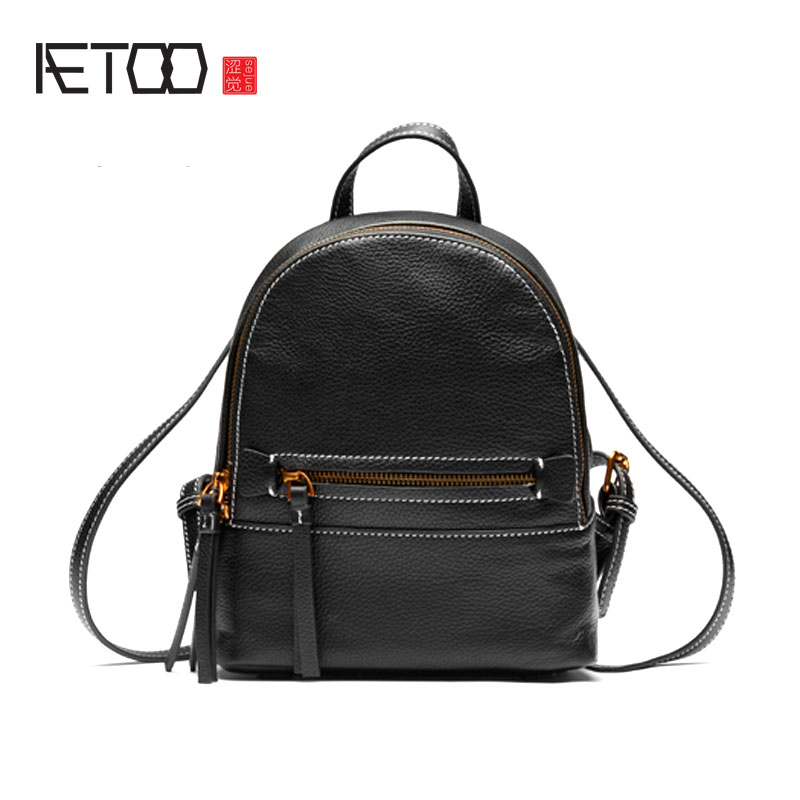 AETOO First layer of leather shoulder bag female leather 2017 new wild Korean version of the tide leisure mini college wind back new korean version of the first layer of leather pillow bag large lychee pattern handbag shoulder messenger fashion leather leat