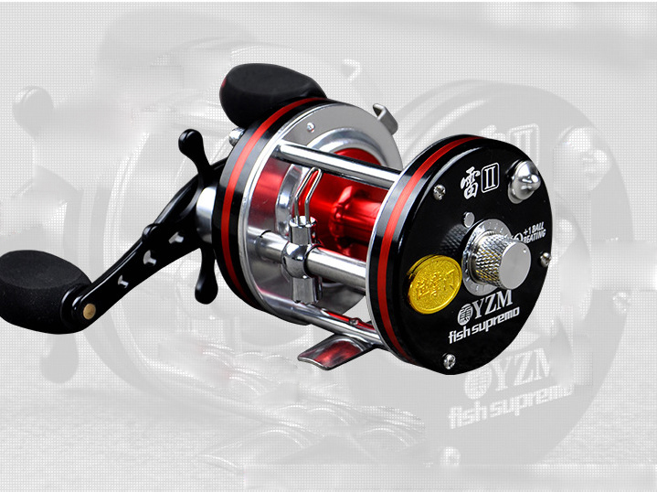 Red/Yellow All-metal 7BB Baitcasting Reels 5.2:1 Saltwater Cast Drum Wheel Lures Freshwater Fishing Reel Large capacity 053# trolling reel 9 1bb drum wheel carp baitcasting reels centrifugal brake casting saltwater fishing reel super power drag 30kg