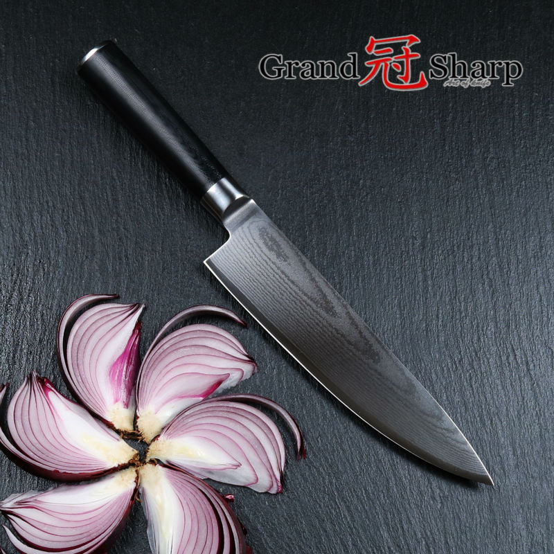 Grandsharp 8 Inch Chef font b Knife b font 67 Layers Japanese Damascus Stainless Steel VG