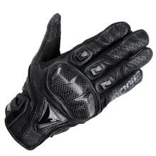 Марка Натуральная Кожа и Углеродного Волокна Полный Пальцев moto Сенсорный Экран Перчатки Мотоцикла Защитная Gears Мотокросс Перчатки