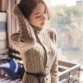 2017 Южнокорейских женщин нового зимнего пальто твист длинный кардиган вязаный свитер платья утолщенной зимой