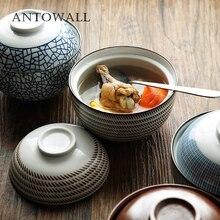 ANTOWALL японская HENGFENG 4,5 дюймов и 6,5 дюймов керамическая миска для супа с крышкой синяя и белая миска для риса тушеная мисо супница