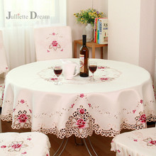 Hot European Garden embroidered Tablecloth round Table cloth dining table cloth tea carbinet cover cushion wedding decoration