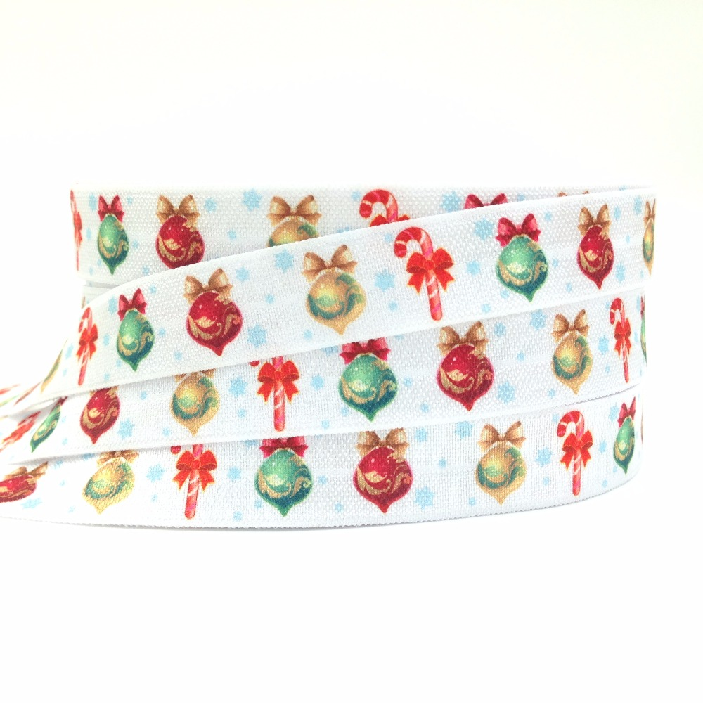 Good Quality Christmas Ball Print Fold Over Elastic Red Green Gold Ball FOE Ribbon for Hair Tie Ponytail Holder 10Yards/lot