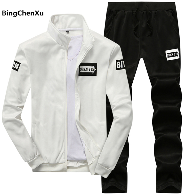 Tracksuit Men 2019 Spring Sportwear Fashion Mens Set Hooded Sweatshirt Hip Hop Jackets + Pants 2 piece Tracksuits Men Sets 1934