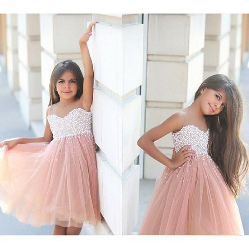 2018 First Communion   Dresses   For   Girls   Short A Line   Flower     Girl     Dresses   petites filles pageant robes For Wedding Pearls M2509