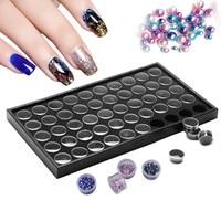 50 Pots Nail Art Manicure Empty Glitter Dust Powder Jewelry Display Box Cases Decorations Storage Plate
