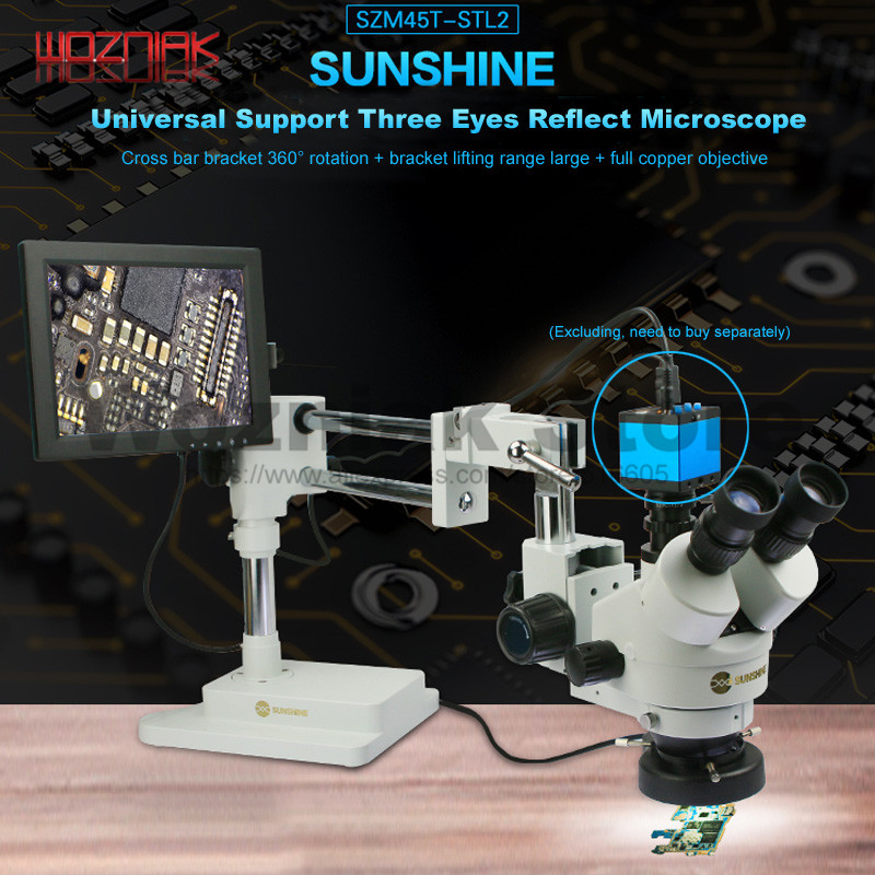 Trinocular Microscope Universal Support Lifting Adjustment 7x-45x/90x All Copper Objective Expanding Scope Of Microscopic Work