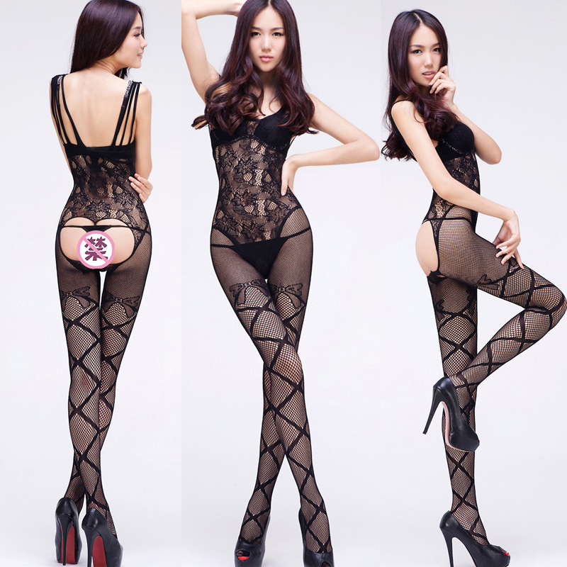 Full Body Open Tights Even With Fishnet Stockings Open-seat Slips for Women Bodysuit Sexy Erotic Lingerie Hot Pantyhose