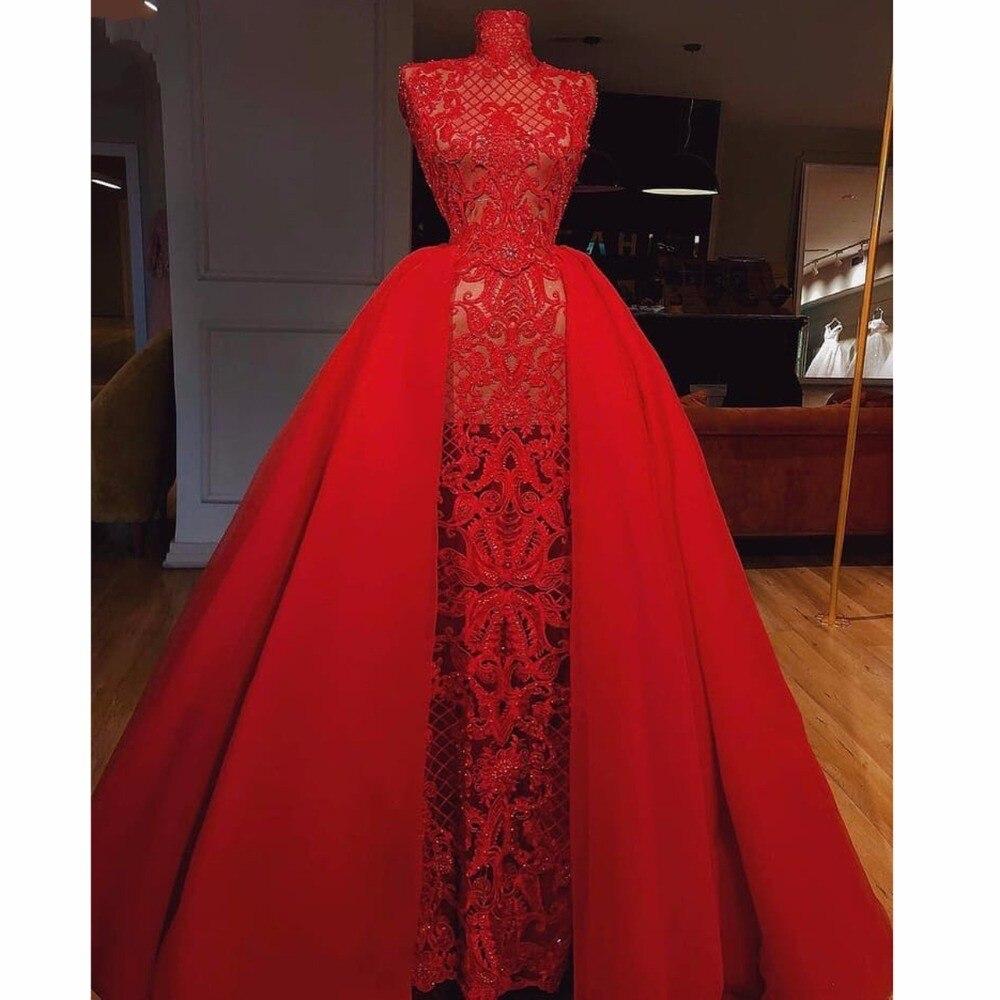 Sexy robe de bal dentelle 2019 vestido formatura robes de bal sans manches une ligne longue robe formelle rouge élégant pure gala jurken