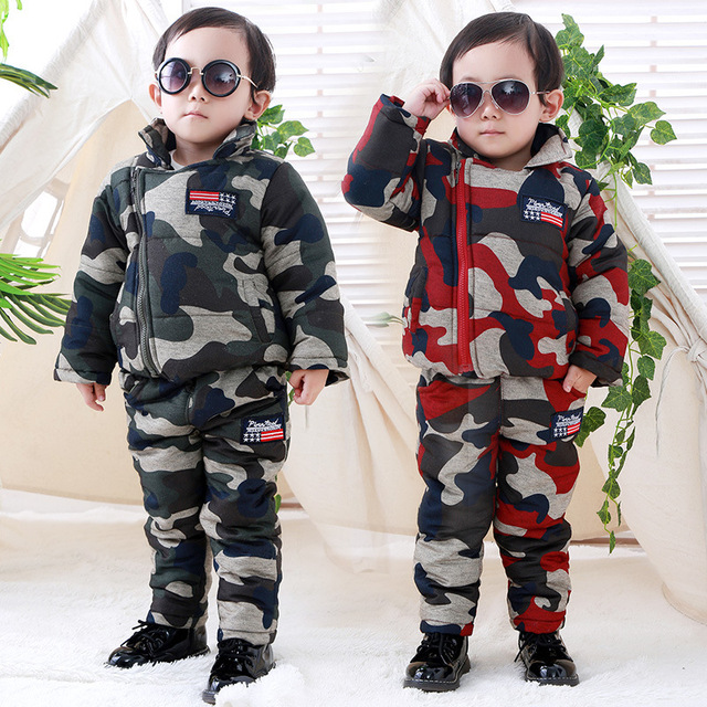 Meninos Da Criança Do Bebê Conjuntos de Roupas de Camuflagem de inverno Engrosse Brasão + calças 2 Pcs Bebê Infantil Casacos Meninos Para Baixo Casaco Crianças Snowsuits