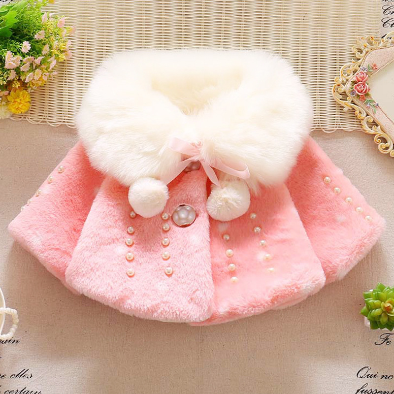 2018 Autumn Winter Hot Sale Children's Clothing Korean Girls Thick Wool Coat Baby Princess Shawl Coat Toddler Pompoms Outwear hot sale tassel pendant autumn winter reversible oversized batwing poncho cape shawl for women