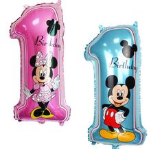 New 30 inch Mitch Mini digital 1 balloon Mickey Mouse aluminum film digital birthday party decoration balloon