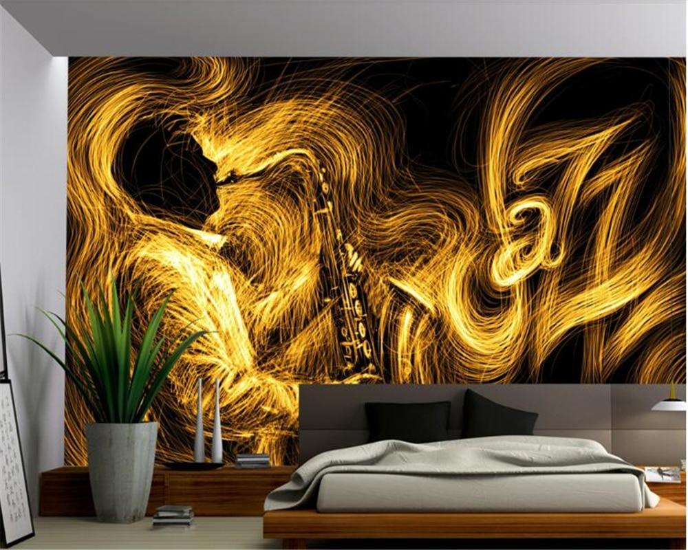 Beibehang prémio à moda abstrato saxofone dourado jazz 3d mural papel de parede fundo para paredes 3 d