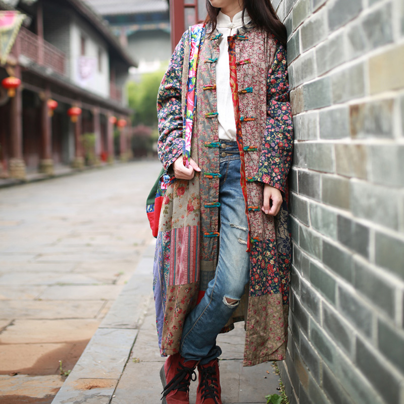 2019 New Long Windbreaker Cotton Linen Patchwork Overcoat Casaco Feminino 3 Patterns Spring Coat Loose Vintage Casual   Trench