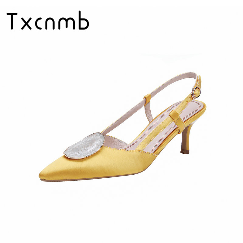 TXCNMB Women Pumps Genuine Leather High Heels Summer Sandals Buckle Close Toe Pointed Toe Concise Fahison
