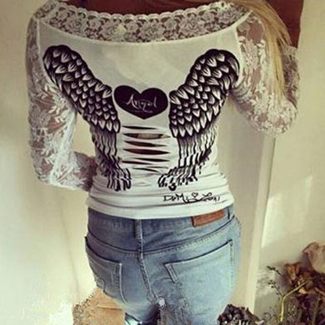 Angel Wings Print T-shirt 2016 Summer Hollow out Lace Patchwork Long Sleeve Black&white T shirts Back Hole Tops Slim Fit QA1038