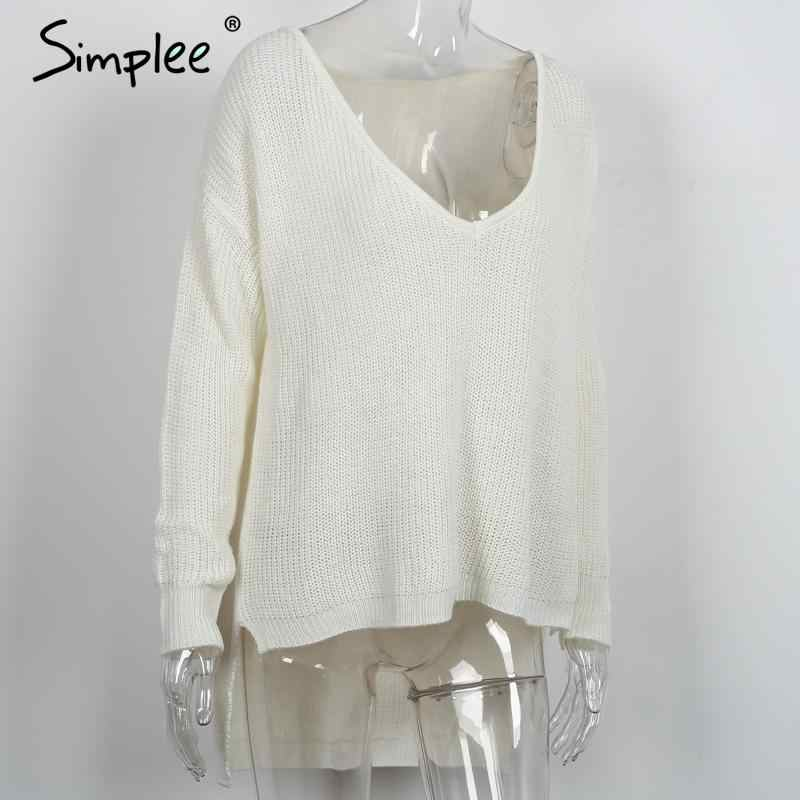 Simplee Sexy v neck split knitted sweater Women black long sleeve pullovers knitwear Autumn winter white jumper pull femme 2016