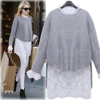 European Station 2016 Autumn Outfit New Temperament Thin Two Sets Of Women S Knitted Sweater Lace