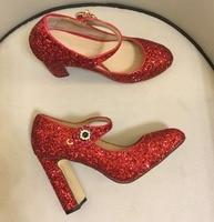 Для женщин блестящие свадебные туфли модные высокий каблук Мэри Джейн обувь Chic Red Обувь на высоком каблуке туфли лодочки BY614