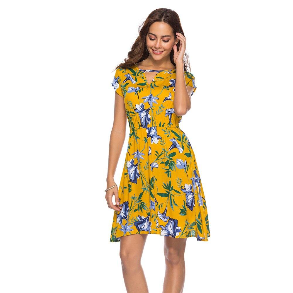 vestidos verano 2018 Women Summer Dress Holiday V Neck ...