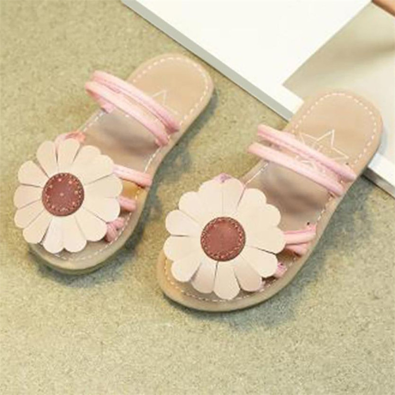 Children Infant Kids Girls Sunflower Sandals Slipper Casual Beach Shoes Flip Flops flat heels soft S3APR6