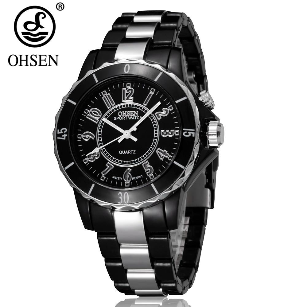 b35cc598ade Nova Marca de Moda OHSEN Analógico Relógio de Quartzo Relógio De Pulso  LEVOU Luz Das Mulheres