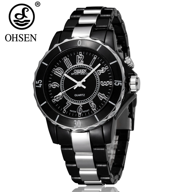 1caa4e9d297 Nova Marca de Moda OHSEN Analógico Relógio de Quartzo Relógio De Pulso  LEVOU Luz Das Mulheres