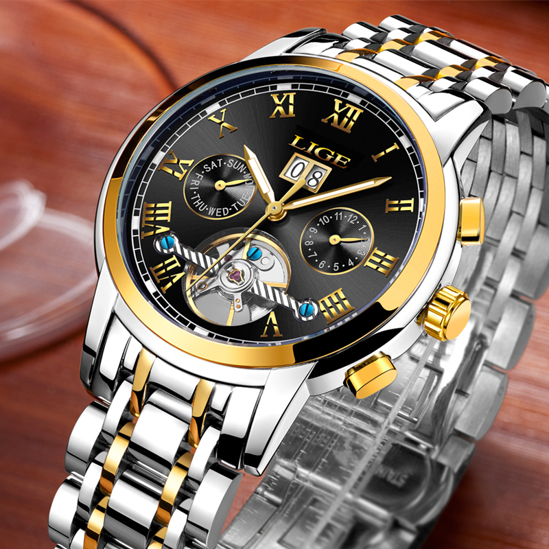 <font><b>LIGE</b></font> 2019 New Automatic mechanical watch mens watches top brand luxury Business watch Waterproof sports clock relogio masculino image