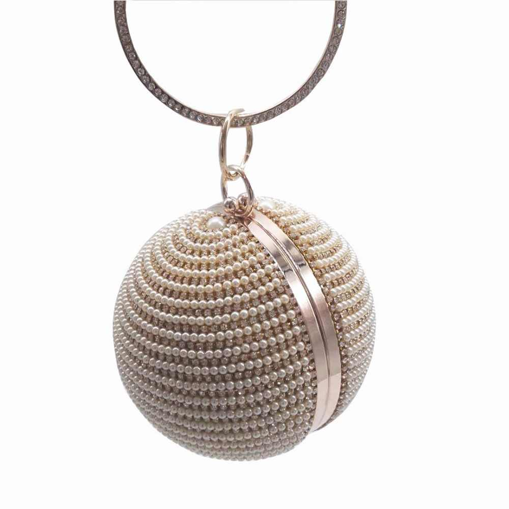8200998d48 ... Designer Round Ball Evening Clutch Bag Gold Silver Diamond Clutches  Wedding Party Bag Beaded Crystal Pearl ...